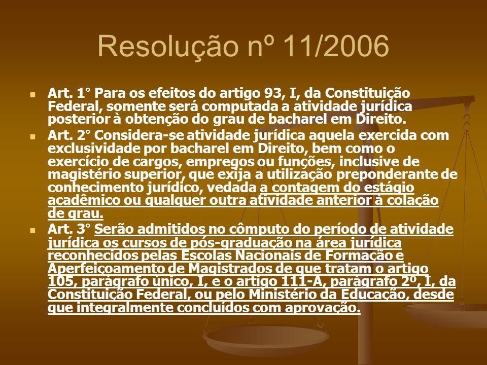 Resolução nº 11/2006 Art. 1° Para os efeitos do artigo 93, I, da Constituição Federal, somente será computada a atividade jurídica posterior à obtençã