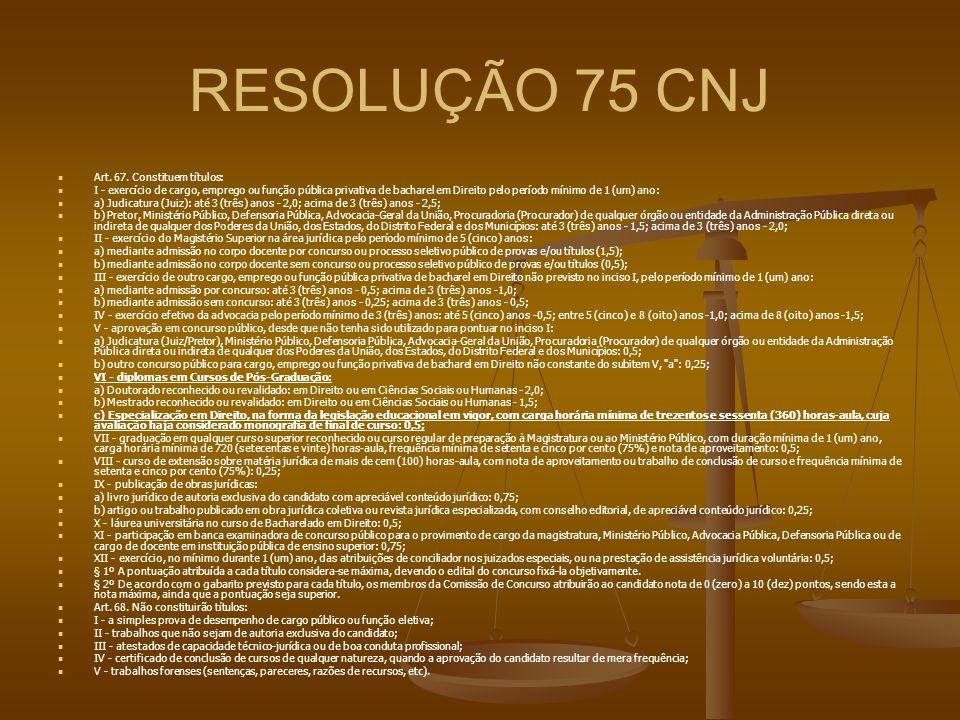 RESOLUÇÃO 75 CNJ Art. 67. Constituem títulos: I - exercício de cargo, emprego ou função pública privativa de bacharel em Direito pelo período mínimo d