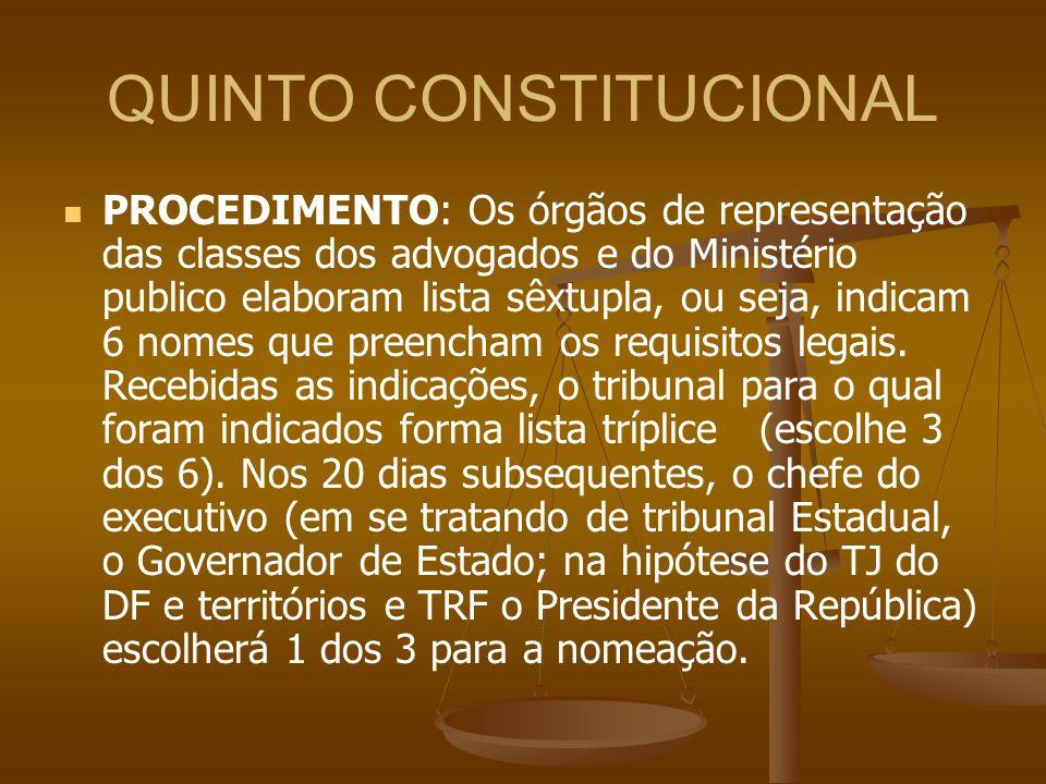 QUINTO CONSTITUCIONAL PROCEDIMENTO: Os órgãos de representação das classes dos advogados e do Ministério publico elaboram lista sêxtupla, ou seja, ind