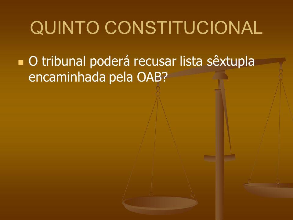 QUINTO CONSTITUCIONAL O tribunal poderá recusar lista sêxtupla encaminhada pela OAB?