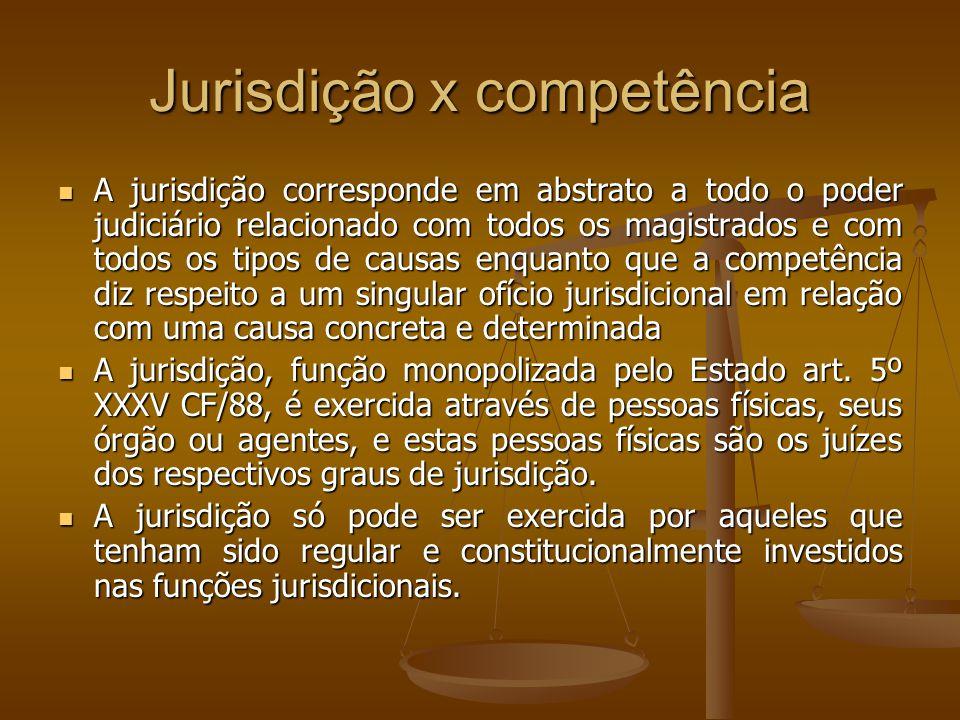 Jurisdição x competência A jurisdição corresponde em abstrato a todo o poder judiciário relacionado com todos os magistrados e com todos os tipos de c