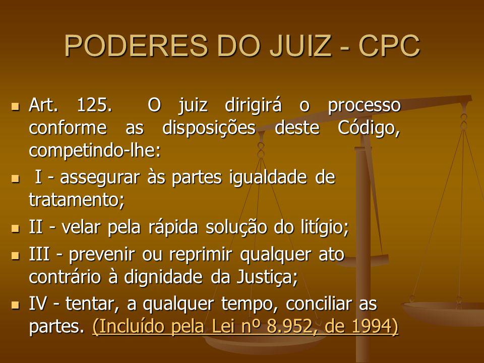 PODERES DO JUIZ - CPC Art. 125. O juiz dirigirá o processo conforme as disposições deste Código, competindo-lhe: Art. 125. O juiz dirigirá o processo