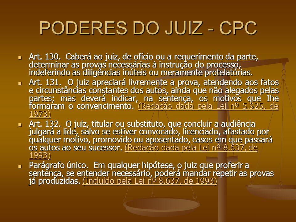 PODERES DO JUIZ - CPC Art. 130. Caberá ao juiz, de ofício ou a requerimento da parte, determinar as provas necessárias à instrução do processo, indefe