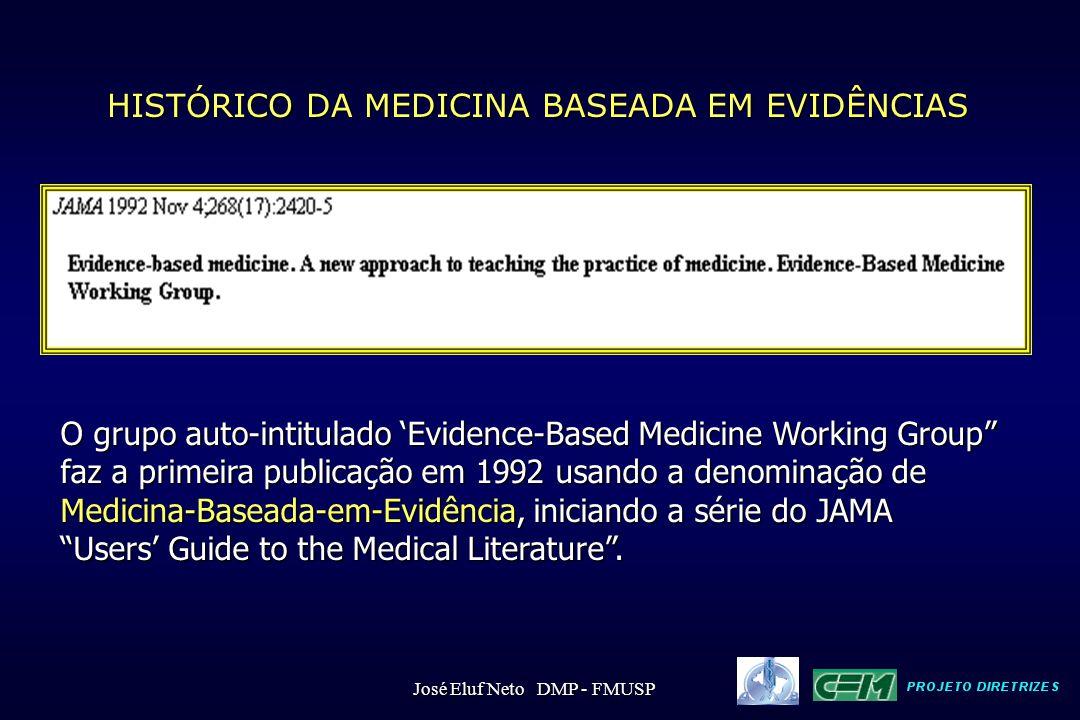"""HISTÓRICO DA MEDICINA BASEADA EM EVIDÊNCIAS O grupo auto-intitulado 'Evidence-Based Medicine Working Group"""" faz a primeira publicação em 1992 usando a"""
