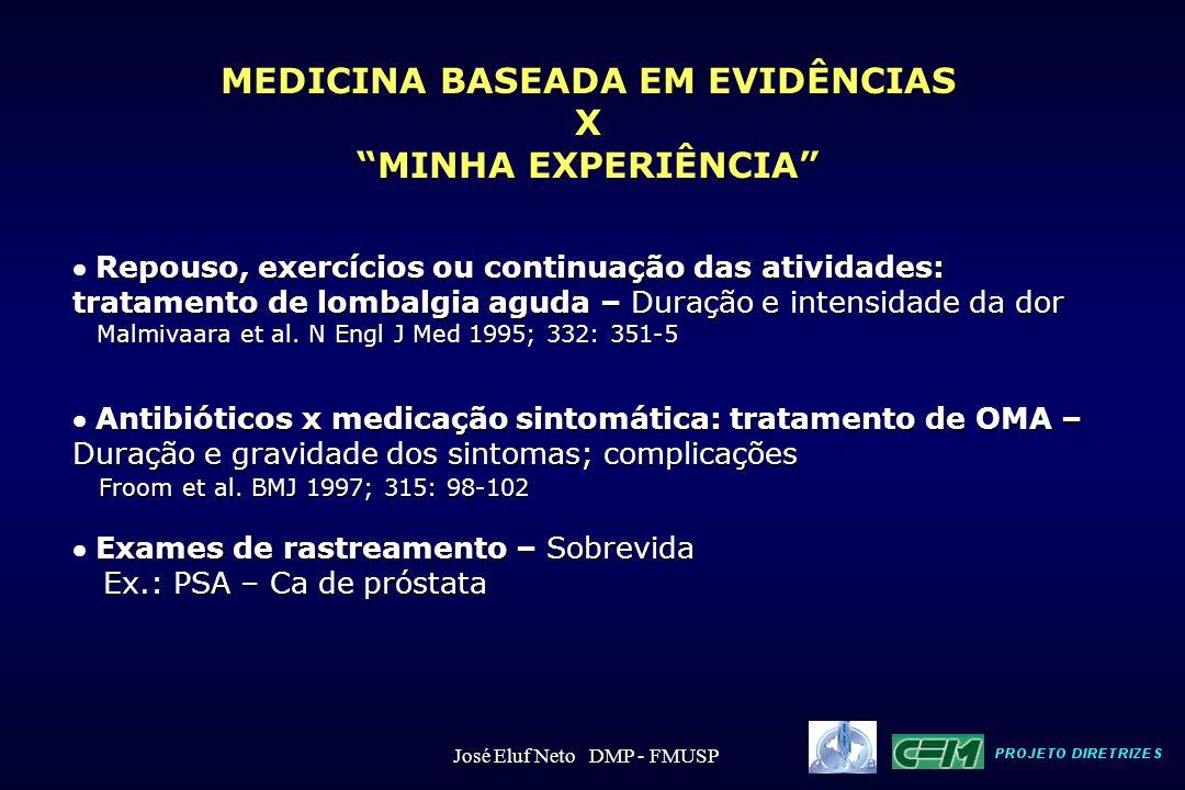 A evidência científica de maior auxílio para a tomada de decisão clínica é a que oferece informações sobre condutas, quanto ao: benefício risco custo José Eluf Neto DMP - FMUSP