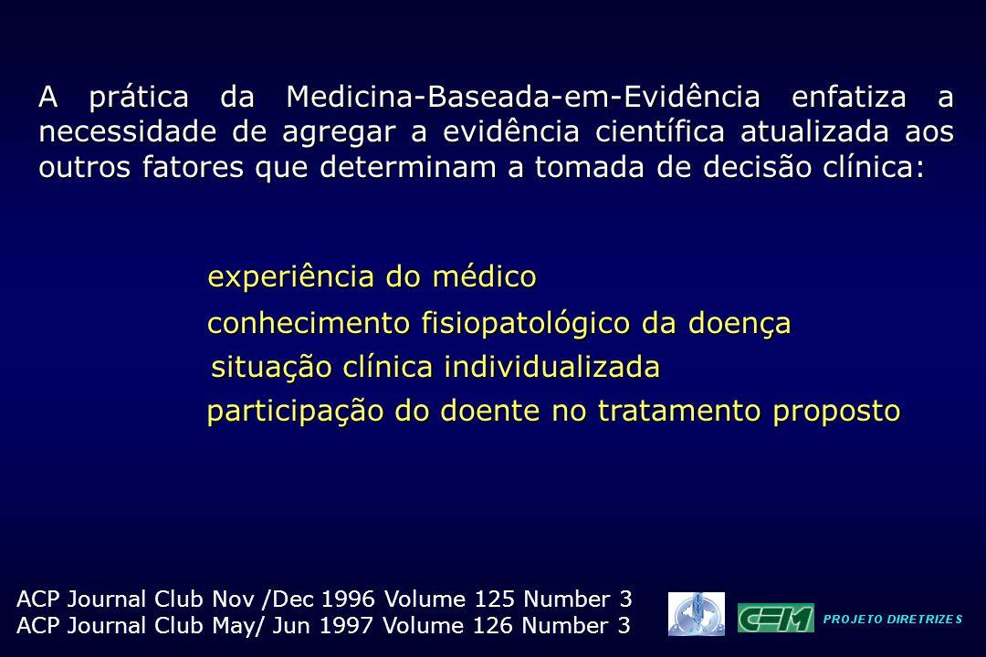 A prática da Medicina-Baseada-em-Evidência enfatiza a necessidade de agregar a evidência científica atualizada aos outros fatores que determinam a tom