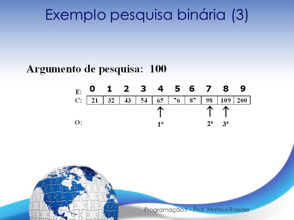 Programação II – Prof. Mateus Raeder 0 1 2 3 4 5 6 7 8 9 Exemplo pesquisa binária (3)