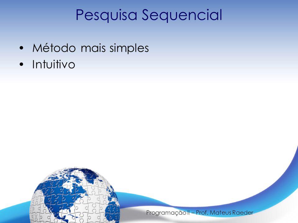 Programação II – Prof. Mateus Raeder Pesquisa Sequencial Método mais simples Intuitivo