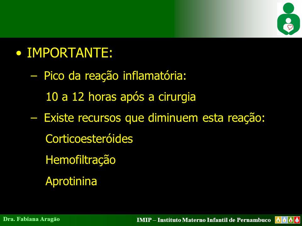 IMIP – Instituto Materno Infantil de Pernambuco Dra. Fabiana Aragão IMPORTANTE: – Pico da reação inflamatória: 10 a 12 horas após a cirurgia – Existe