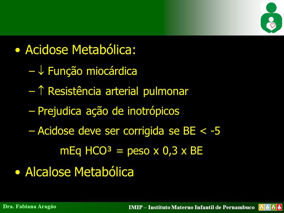 IMIP – Instituto Materno Infantil de Pernambuco Dra. Fabiana Aragão Acidose Metabólica: –  Função miocárdica –  Resistência arterial pulmonar –Preju