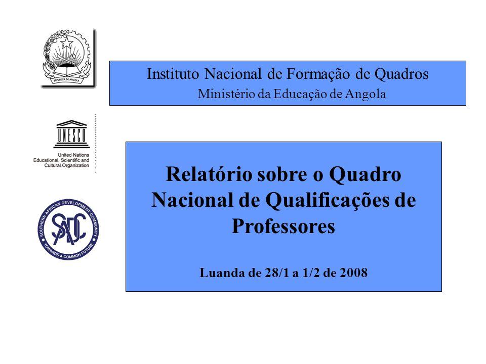 Instituto Nacional de Formação de Quadros Ministério da Educação de Angola Relatório sobre o Quadro Nacional de Qualificações de Professores Luanda de