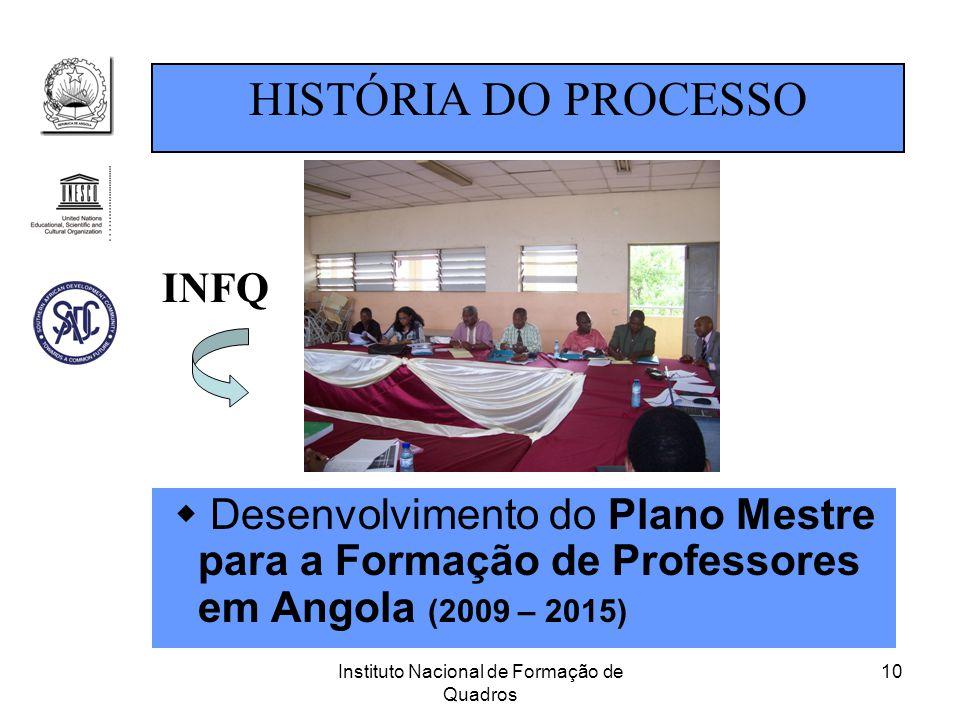 Instituto Nacional de Formação de Quadros 10  Desenvolvimento do Plano Mestre para a Formação de Professores em Angola (2009 – 2015) HISTÓRIA DO PROC