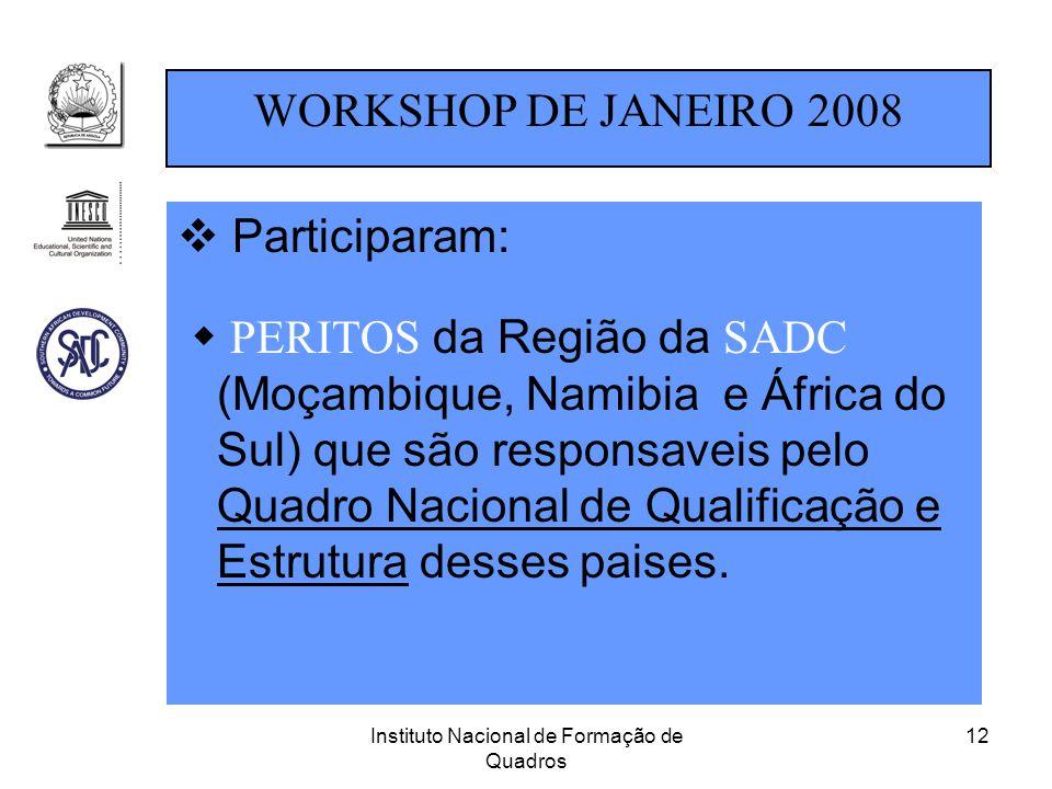 Instituto Nacional de Formação de Quadros 12  Participaram:  PERITOS da Região da SADC (Moçambique, Namibia e África do Sul) que são responsaveis pe