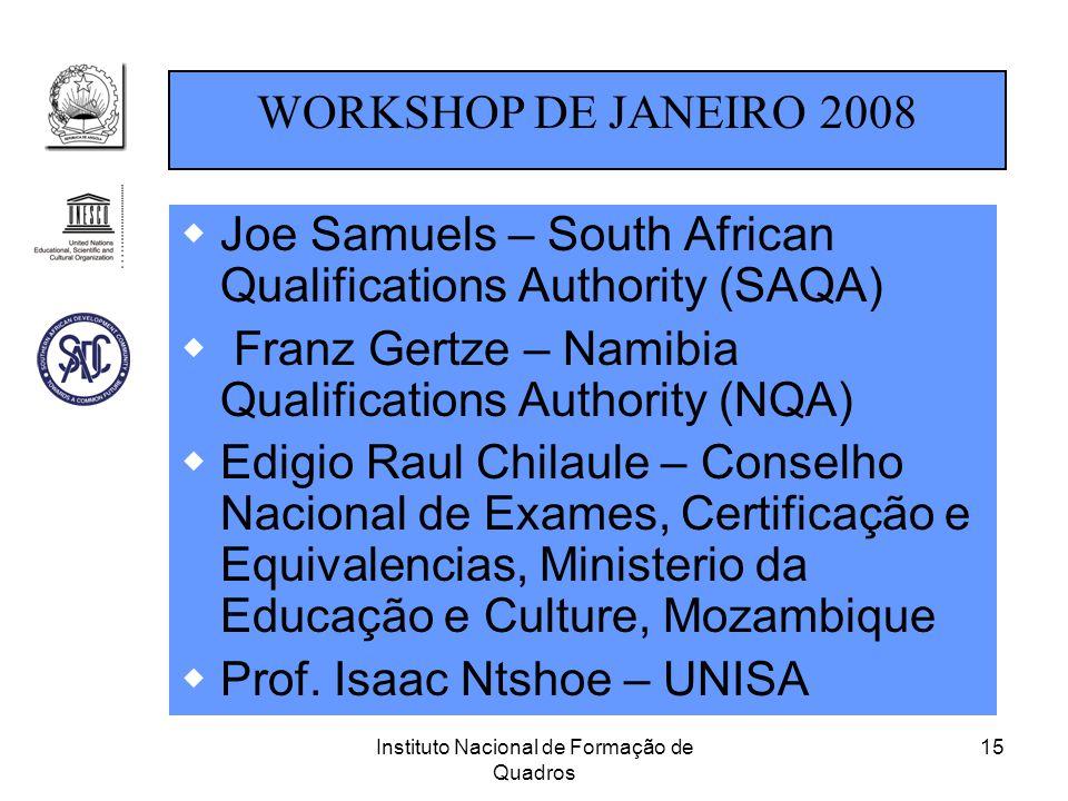 Instituto Nacional de Formação de Quadros 15  Joe Samuels – South African Qualifications Authority (SAQA)  Franz Gertze – Namibia Qualifications Aut