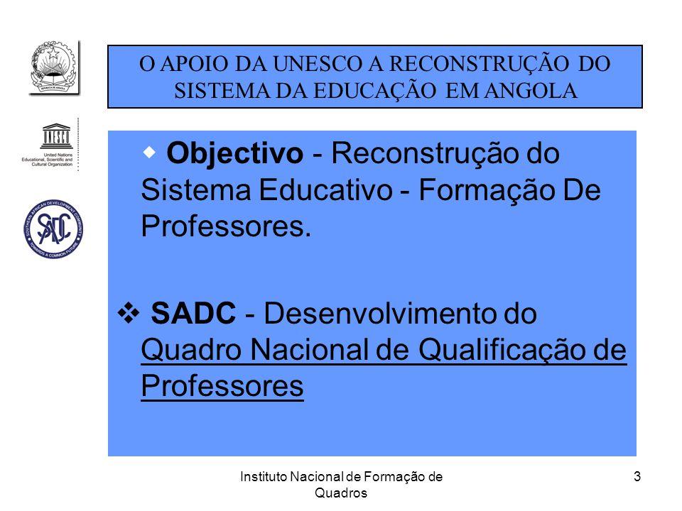 Instituto Nacional de Formação de Quadros 3  Objectivo - Reconstrução do Sistema Educativo - Formação De Professores.  SADC - Desenvolvimento do Qua