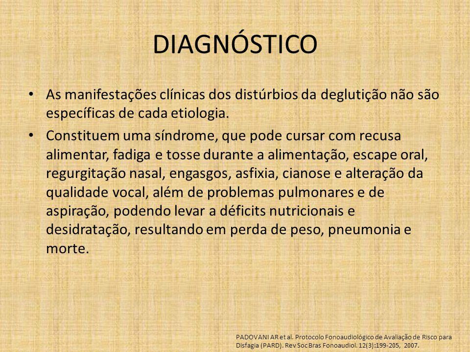 DIAGNÓSTICO As manifestações clínicas dos distúrbios da deglutição não são específicas de cada etiologia. Constituem uma síndrome, que pode cursar com