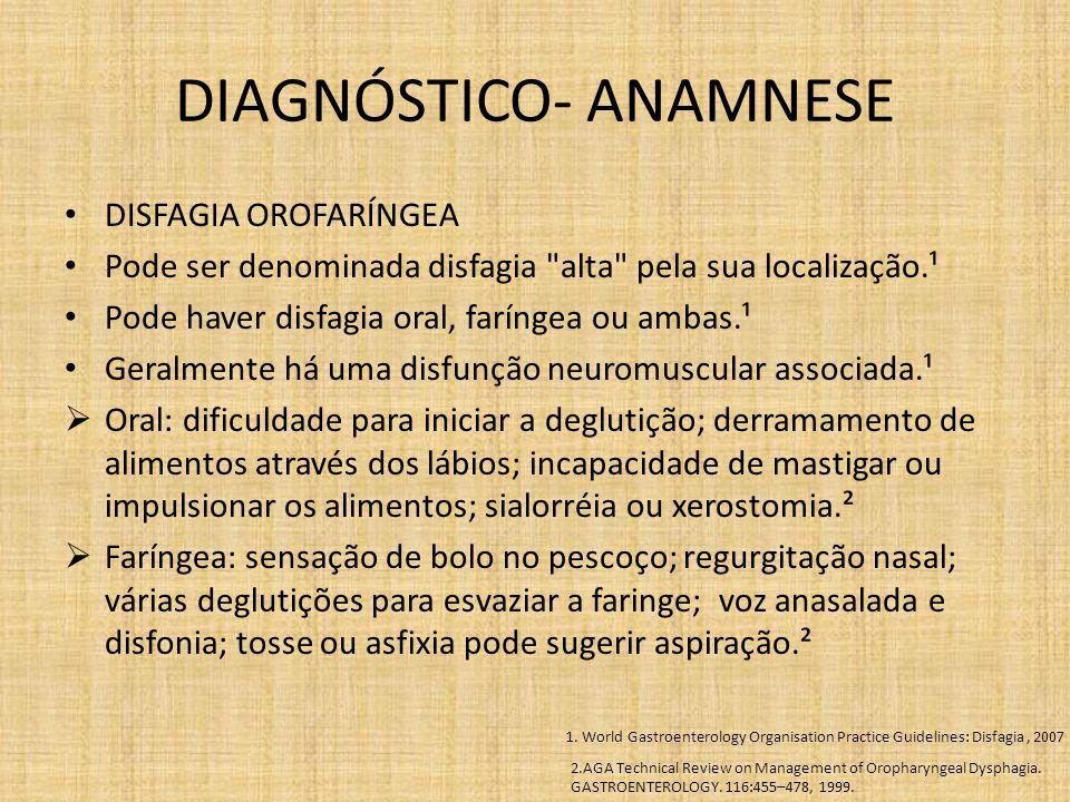 DIAGNÓSTICO- ANAMNESE DISFAGIA OROFARÍNGEA Pode ser denominada disfagia