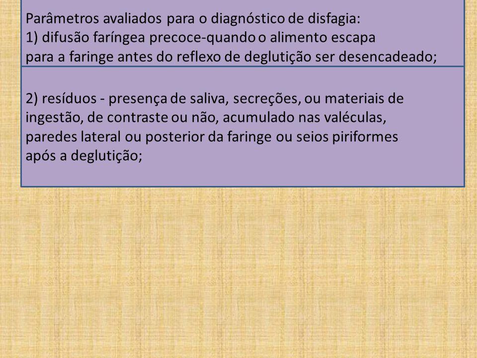 Parâmetros avaliados para o diagnóstico de disfagia: 1) difusão faríngea precoce-quando o alimento escapa para a faringe antes do reflexo de deglutição ser desencadeado; 2) resíduos - presença de saliva, secreções, ou materiais de ingestão, de contraste ou não, acumulado nas valéculas, paredes lateral ou posterior da faringe ou seios piriformes após a deglutição;
