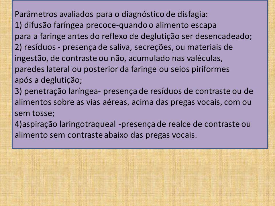 Parâmetros avaliados para o diagnóstico de disfagia: 1) difusão faríngea precoce-quando o alimento escapa para a faringe antes do reflexo de deglutição ser desencadeado; 2) resíduos - presença de saliva, secreções, ou materiais de ingestão, de contraste ou não, acumulado nas valéculas, paredes lateral ou posterior da faringe ou seios piriformes após a deglutição; 3) penetração laríngea- presença de resíduos de contraste ou de alimentos sobre as vias aéreas, acima das pregas vocais, com ou sem tosse; 4)aspiração laringotraqueal -presença de realce de contraste ou alimento sem contraste abaixo das pregas vocais.