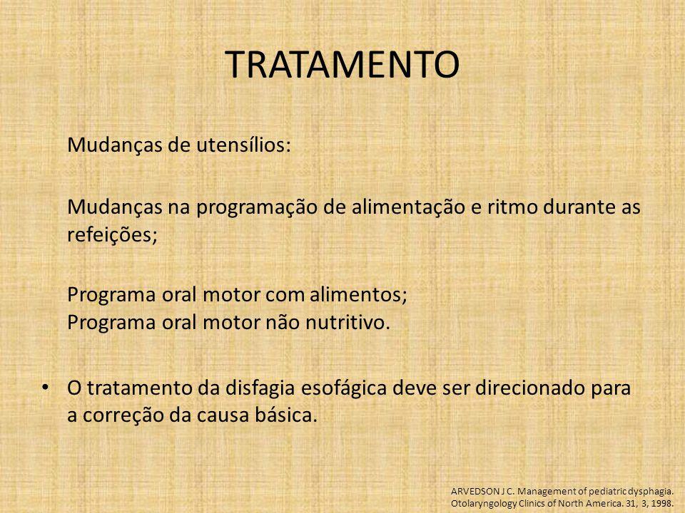 TRATAMENTO Mudanças de utensílios: Mudanças na programação de alimentação e ritmo durante as refeições; Programa oral motor com alimentos; Programa oral motor não nutritivo.