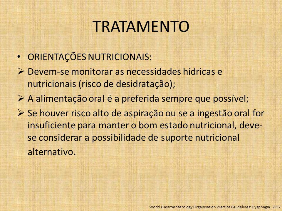 TRATAMENTO ORIENTAÇÕES NUTRICIONAIS:  Devem-se monitorar as necessidades hídricas e nutricionais (risco de desidratação);  A alimentação oral é a pr