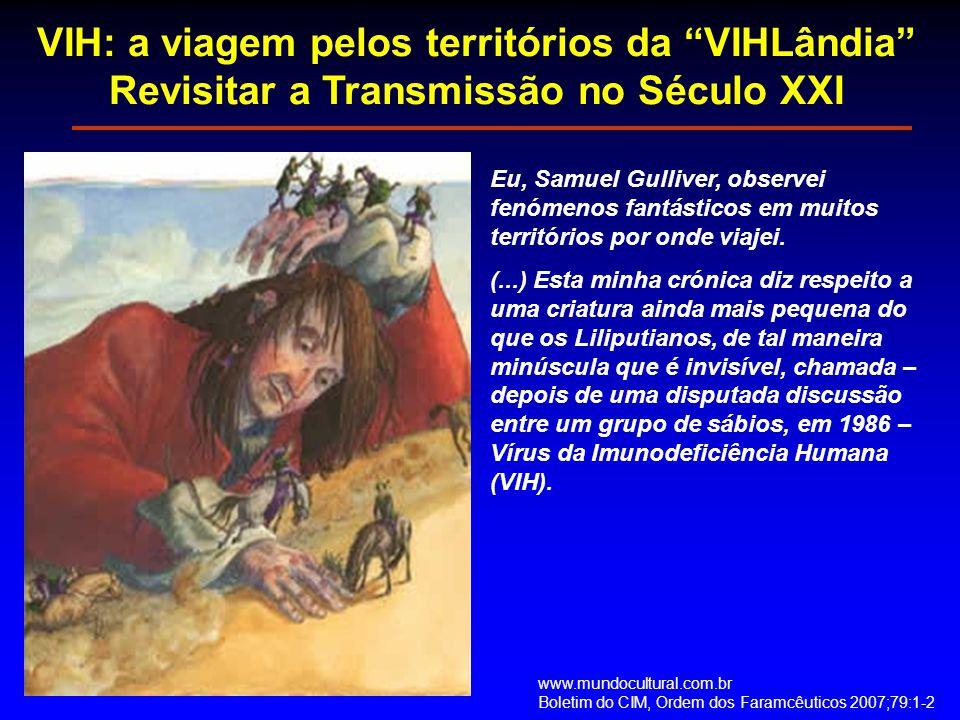 """VIH: a viagem pelos territórios da """"VIHLândia"""" Revisitar a Transmissão no Século XXI Eu, Samuel Gulliver, observei fenómenos fantásticos em muitos ter"""