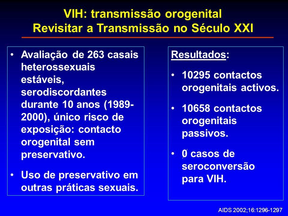 VIH: transmissão orogenital Revisitar a Transmissão no Século XXI Avaliação de 263 casais heterossexuais estáveis, serodiscordantes durante 10 anos (1989- 2000), único risco de exposição: contacto orogenital sem preservativo.
