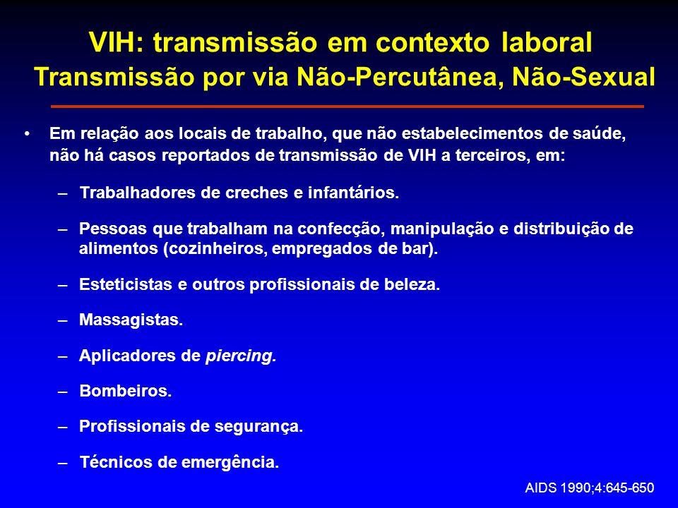 VIH: transmissão em contexto laboral Transmissão por via Não-Percutânea, Não-Sexual Em relação aos locais de trabalho, que não estabelecimentos de saúde, não há casos reportados de transmissão de VIH a terceiros, em: –Trabalhadores de creches e infantários.