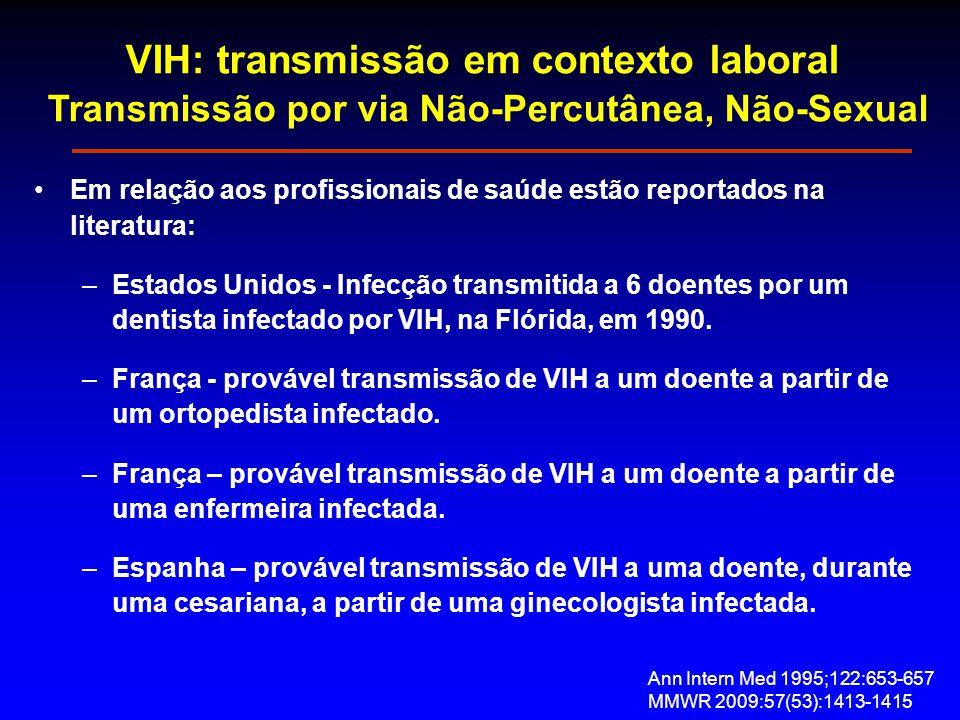 VIH: transmissão em contexto laboral Transmissão por via Não-Percutânea, Não-Sexual Em relação aos profissionais de saúde estão reportados na literatura: –Estados Unidos - Infecção transmitida a 6 doentes por um dentista infectado por VIH, na Flórida, em 1990.