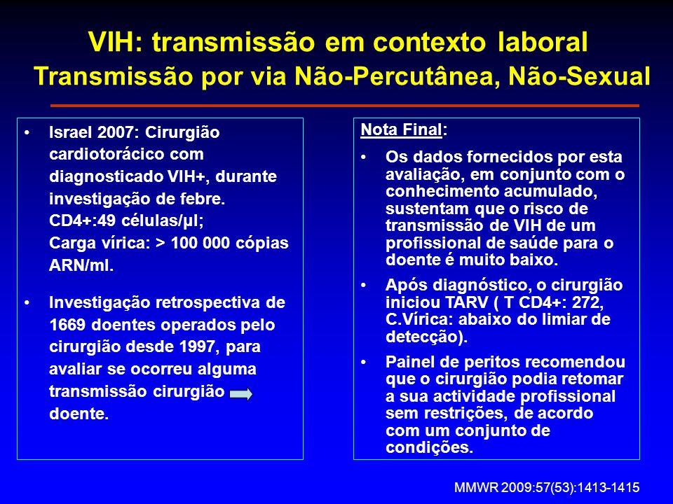 VIH: transmissão em contexto laboral Transmissão por via Não-Percutânea, Não-Sexual Israel 2007: Cirurgião cardiotorácico com diagnosticado VIH+, durante investigação de febre.