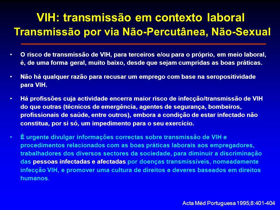 VIH: transmissão em contexto laboral Transmissão por via Não-Percutânea, Não-Sexual O risco de transmissão de VIH, para terceiros e/ou para o próprio, em meio laboral, é, de uma forma geral, muito baixo, desde que sejam cumpridas as boas práticas.