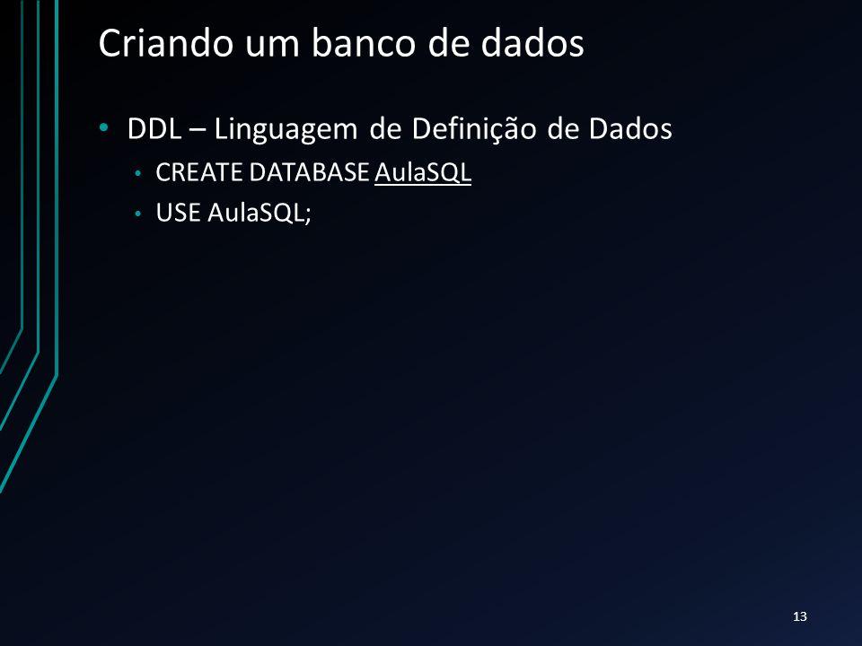 Criando um banco de dados DDL – Linguagem de Definição de Dados CREATE DATABASE AulaSQL USE AulaSQL; 13