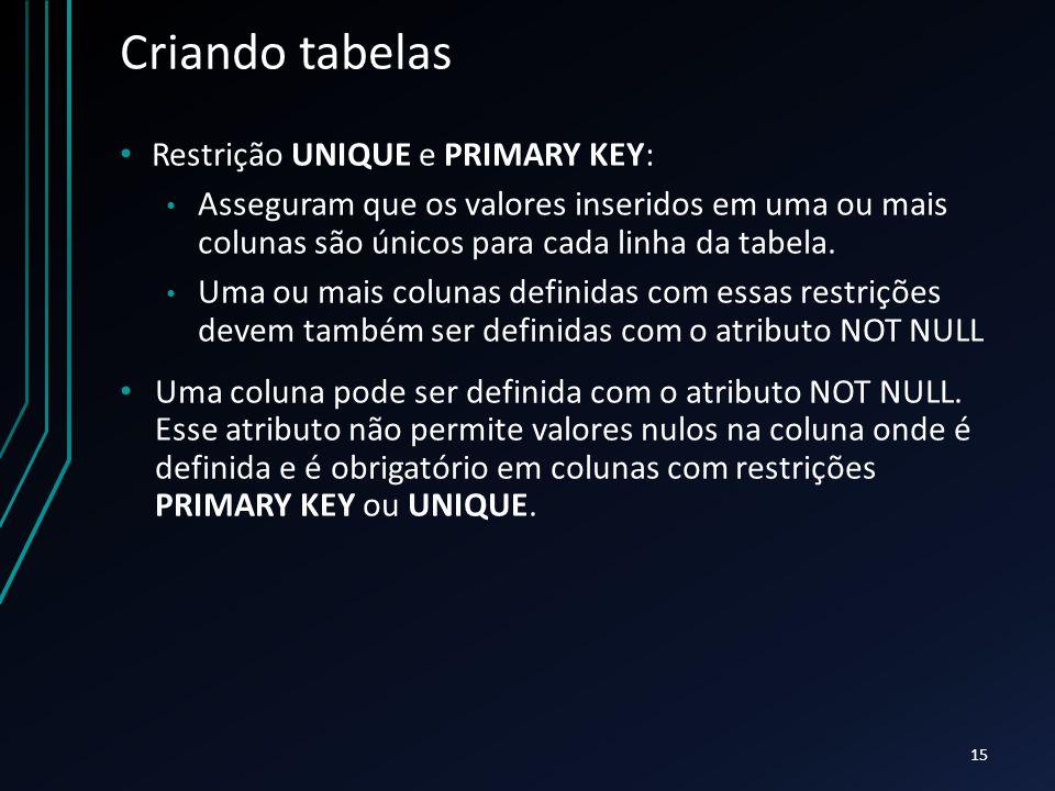 Criando tabelas Restrição UNIQUE e PRIMARY KEY: Asseguram que os valores inseridos em uma ou mais colunas são únicos para cada linha da tabela.