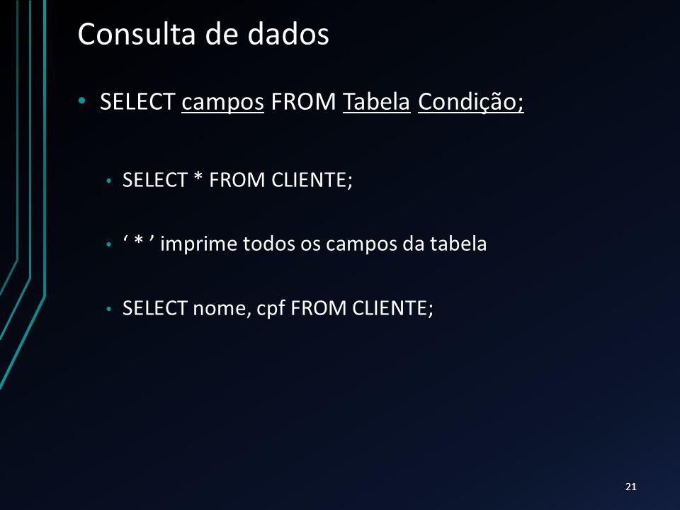 Consulta de dados SELECT campos FROM Tabela Condição; SELECT * FROM CLIENTE; ' * ' imprime todos os campos da tabela SELECT nome, cpf FROM CLIENTE; 21