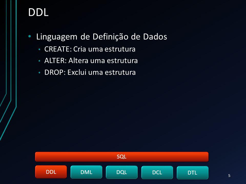 DDL Linguagem de Definição de Dados CREATE: Cria uma estrutura ALTER: Altera uma estrutura DROP: Exclui uma estrutura SQL DDL DML DQL DCL DTL 5