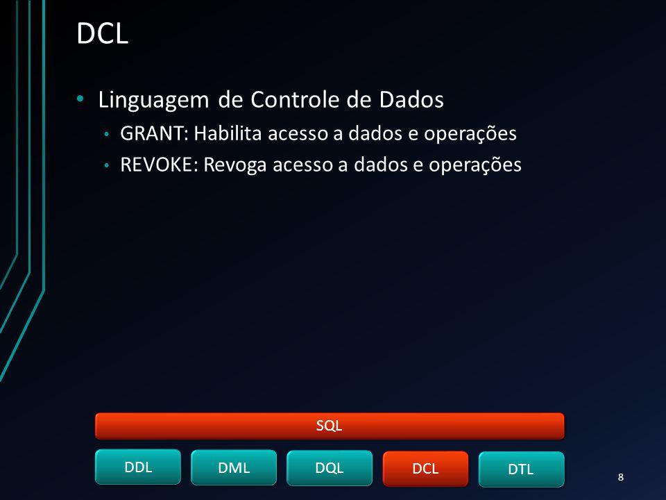DCL Linguagem de Controle de Dados GRANT: Habilita acesso a dados e operações REVOKE: Revoga acesso a dados e operações SQL DDL DML DQL DCL DTL 8