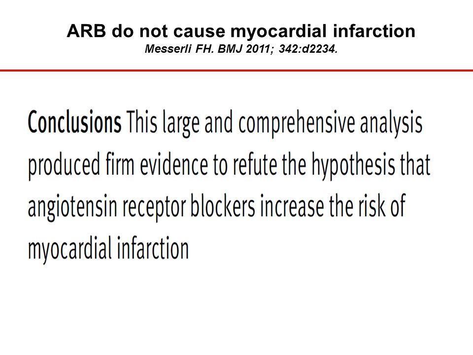 ARB do not cause myocardial infarction Messerli FH. BMJ 2011; 342:d2234.