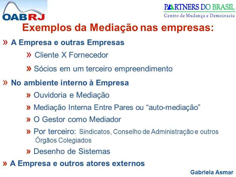 Gabriela Asmar Exemplos da Mediação nas empresas: » A Empresa e outras Empresas » Cliente X Fornecedor » Sócios em um terceiro empreendimento » No amb