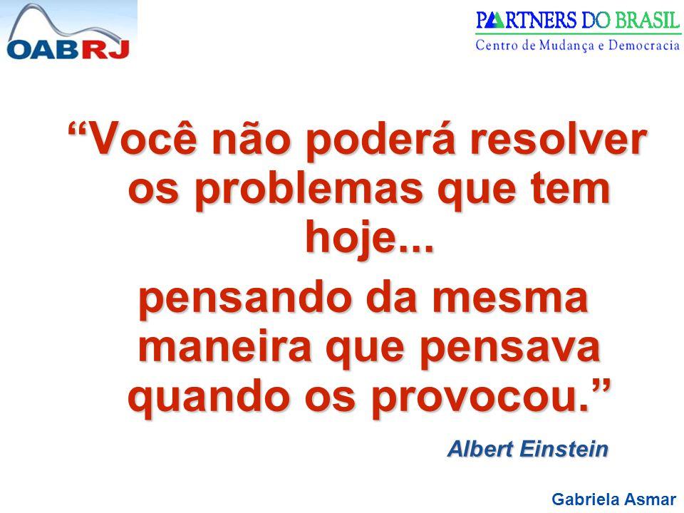 Gabriela Asmar Você não poderá resolver os problemas que tem hoje...