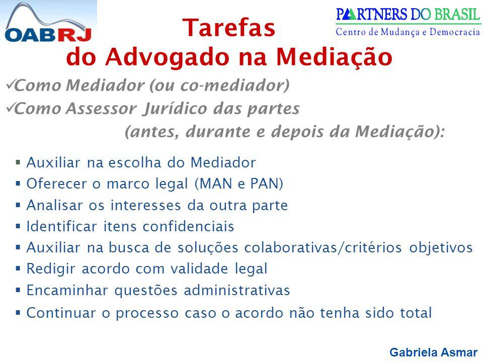 Gabriela Asmar Como Mediador (ou co-mediador) Como Assessor Jurídico das partes (antes, durante e depois da Mediação):  Auxiliar na escolha do Mediad