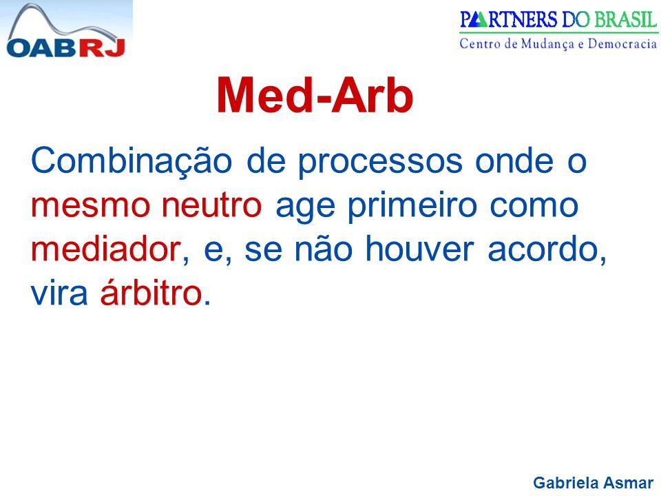 Gabriela Asmar Med-Arb Combinação de processos onde o mesmo neutro age primeiro como mediador, e, se não houver acordo, vira árbitro.