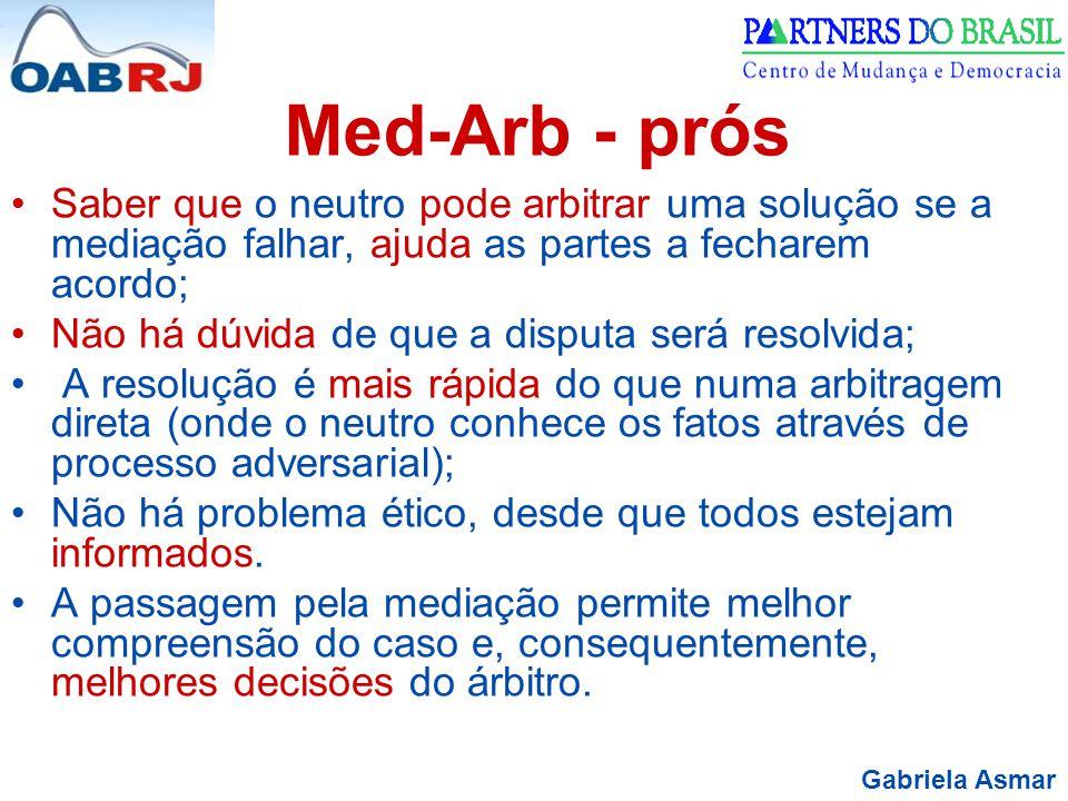 Gabriela Asmar Med-Arb - prós Saber que o neutro pode arbitrar uma solução se a mediação falhar, ajuda as partes a fecharem acordo; Não há dúvida de q