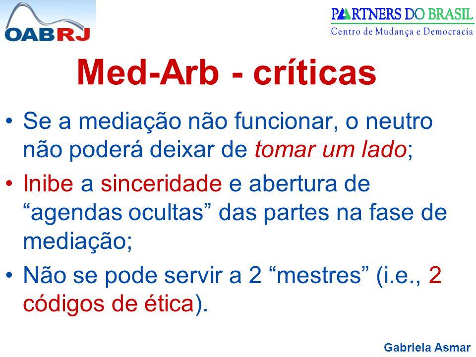 Gabriela Asmar Med-Arb - críticas Se a mediação não funcionar, o neutro não poderá deixar de tomar um lado; Inibe a sinceridade e abertura de agendas ocultas das partes na fase de mediação; Não se pode servir a 2 mestres (i.e., 2 códigos de ética).