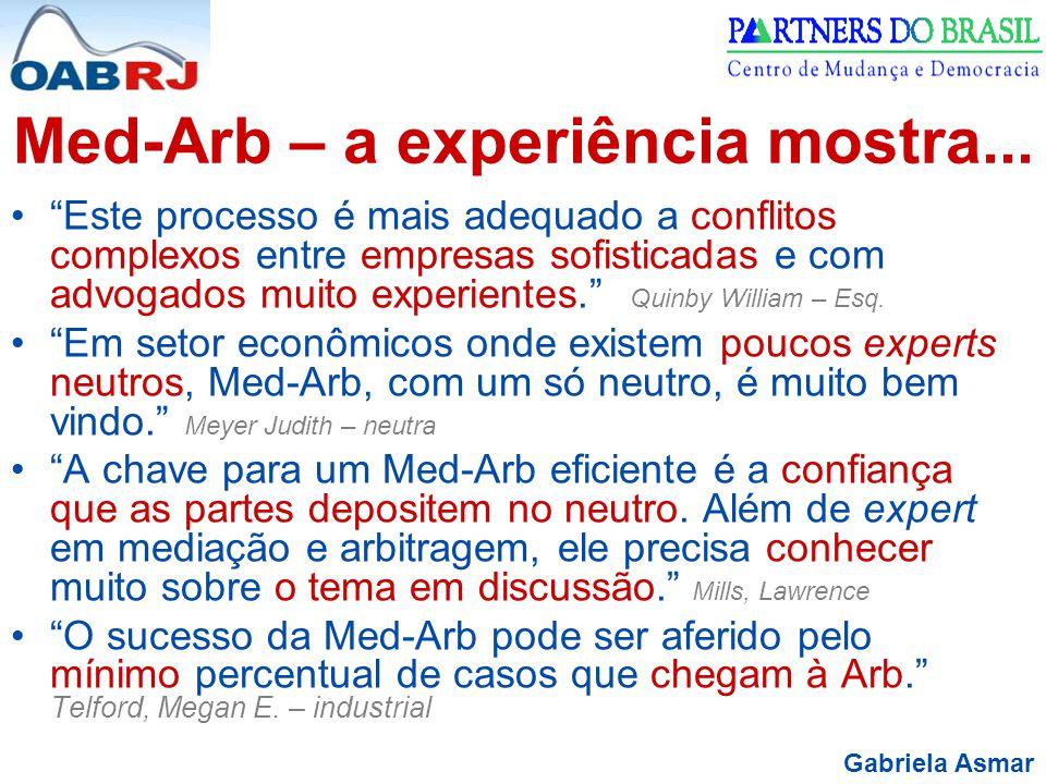 """Gabriela Asmar Med-Arb – a experiência mostra... """"Este processo é mais adequado a conflitos complexos entre empresas sofisticadas e com advogados muit"""
