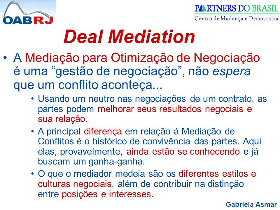 Gabriela Asmar Deal Mediation A Mediação para Otimização de Negociação é uma gestão de negociação , não espera que um conflito aconteça...