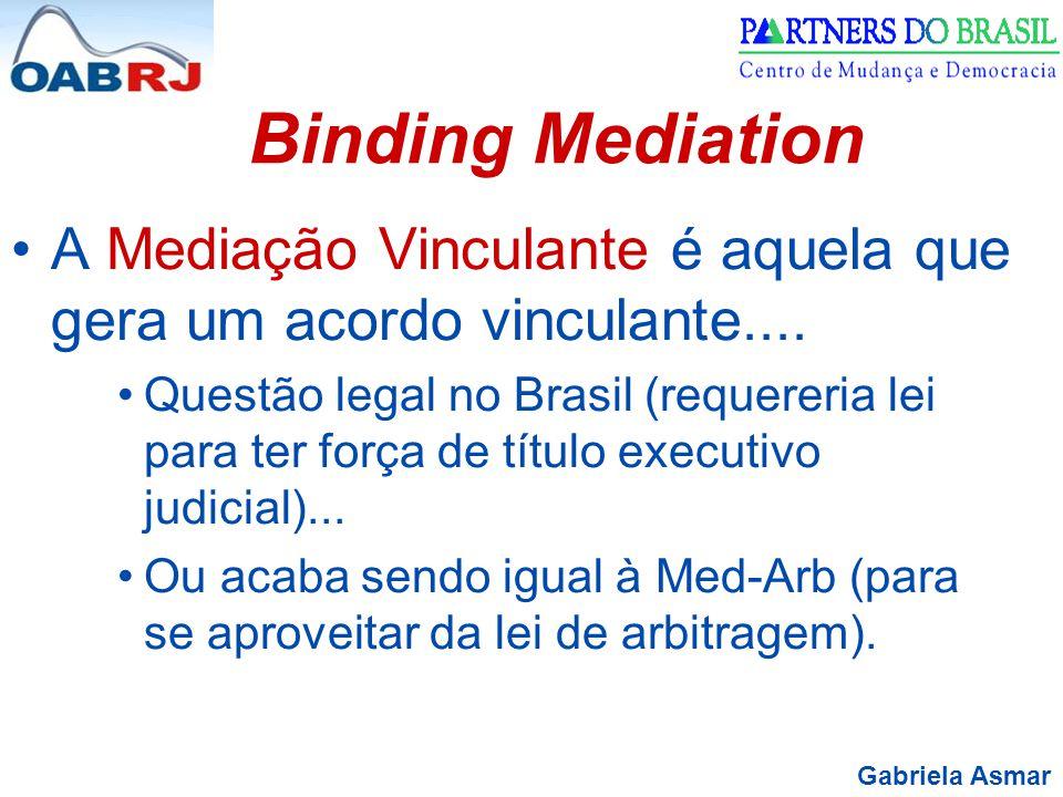 Gabriela Asmar Binding Mediation A Mediação Vinculante é aquela que gera um acordo vinculante.... Questão legal no Brasil (requereria lei para ter for