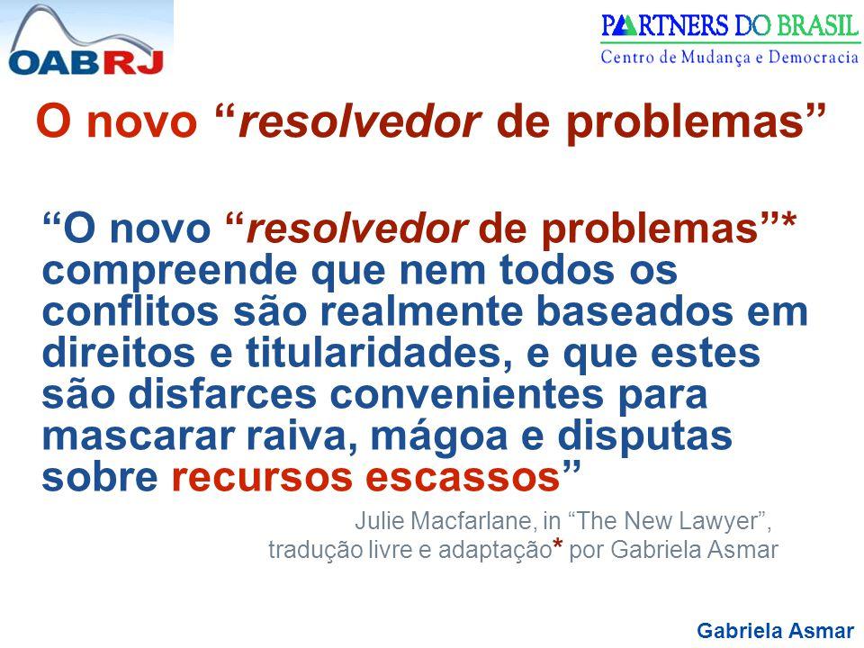 """Gabriela Asmar O novo """"resolvedor de problemas"""" """"O novo """"resolvedor de problemas""""* compreende que nem todos os conflitos são realmente baseados em dir"""