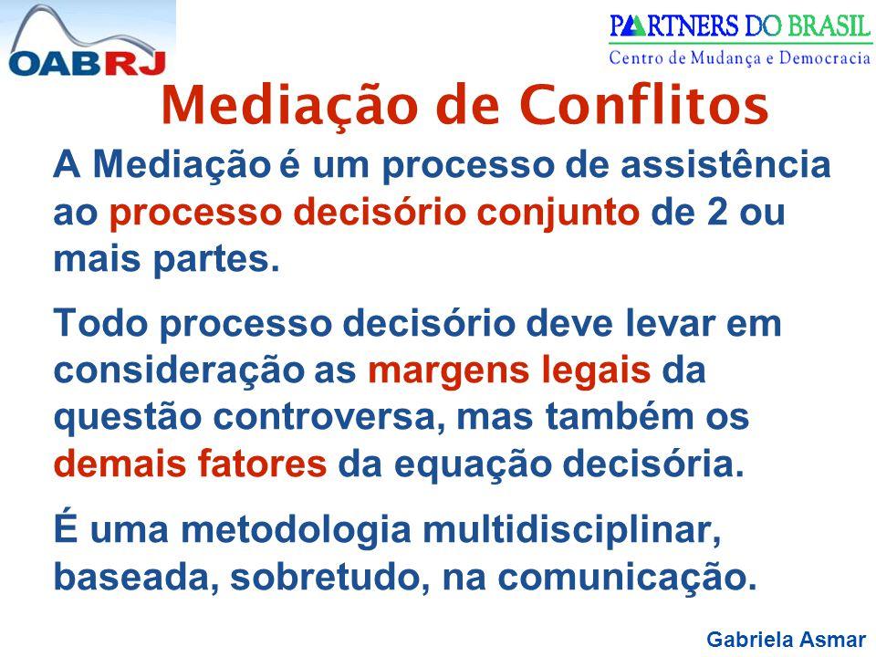 Gabriela Asmar Mediação de Conflitos A Mediação é um processo de assistência ao processo decisório conjunto de 2 ou mais partes.