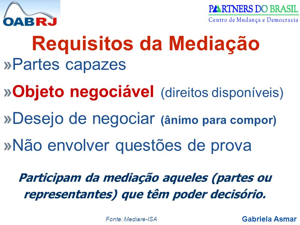 Gabriela Asmar »Partes capazes »Objeto negociável (direitos disponíveis) »Desejo de negociar (ânimo para compor) »Não envolver questões de prova Requi