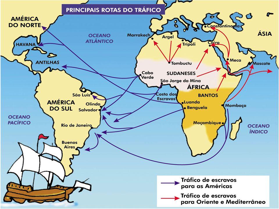 Origens do Tráfico Negreiro Busca de uma atividade que custeasse as expedições do Périplo Africano; Tradição cultural entre as tribos da África; Bula do Papa Nicolau V (1454) concedendo aos portugueses o direito de escravizar os negros; Necessidade de mão-de-obra no campo, em Portugal.